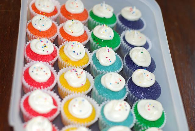Rainbow cupcakes in ice cream cones