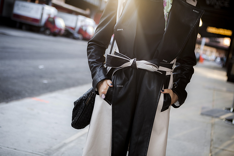 Ann Taylor leather trim trench coat, Saint Laurent arty ring, Bottega Veneta intrecciato bag