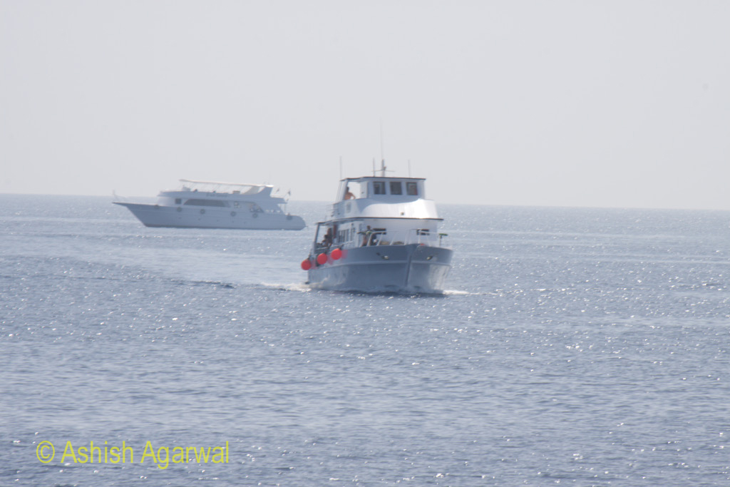 A tourist ship heading our way in the Red Sea near Sharm el Sheikh in Egypt