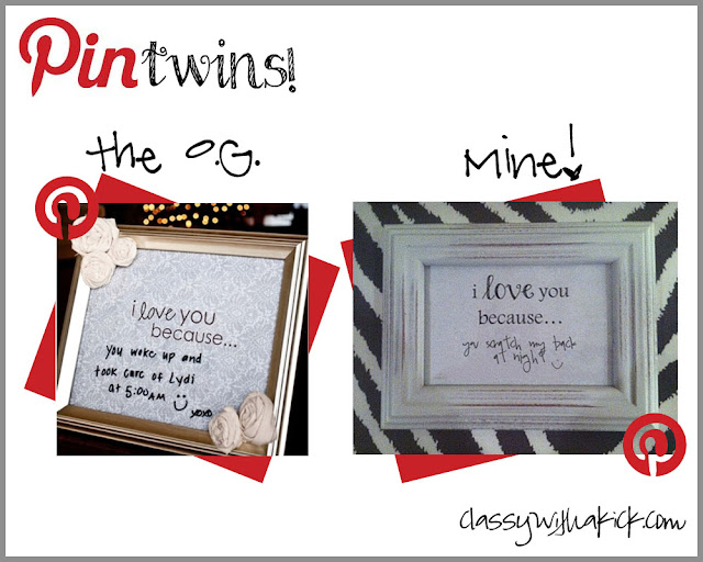 pin twins: i love you because dry erase frames