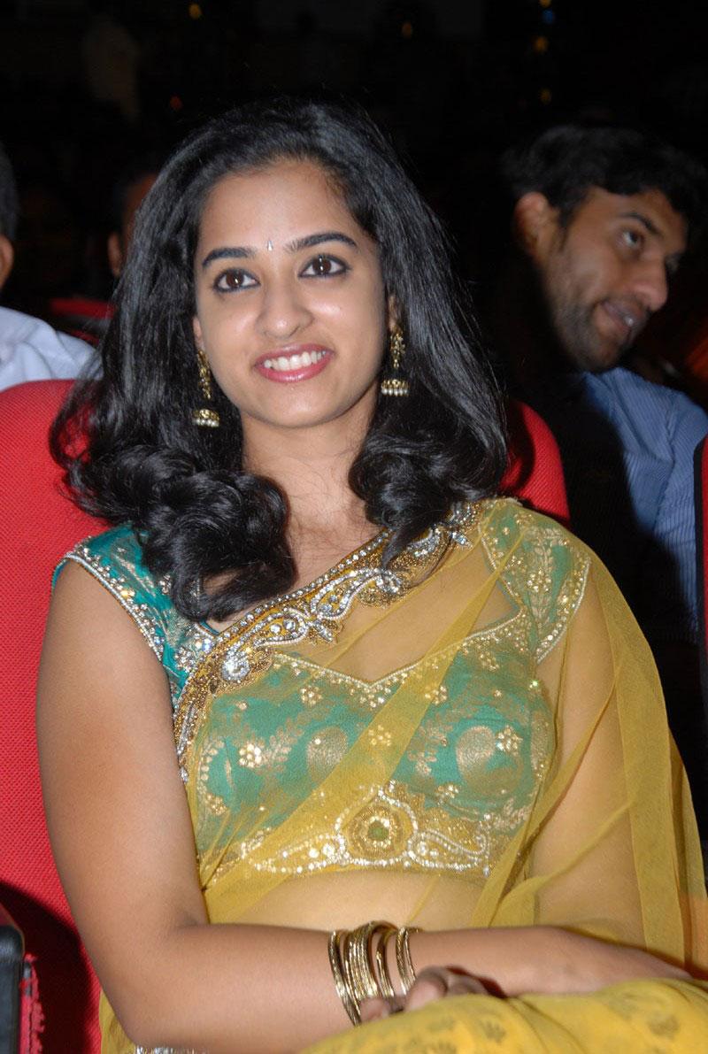 Gorgeous nanditha in yellow transparent designer saree at prema katha chitram audio launch