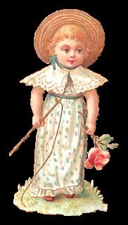 vintage girl holding fishing pole