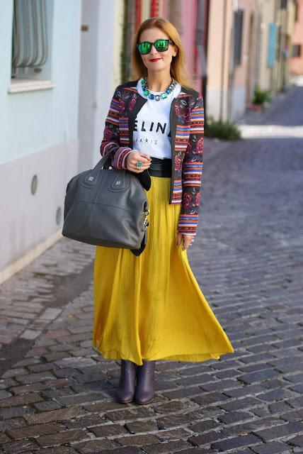 maxi skirt, ethnic print jacket, Givenchy Nightingale bag, Fashion and Cookies, fashion blogger
