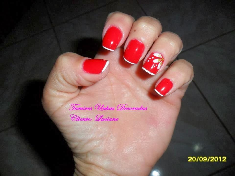 Muito Tamires Unhas Decoradas: Unha Vermelha com Francesinha e Flor QT07