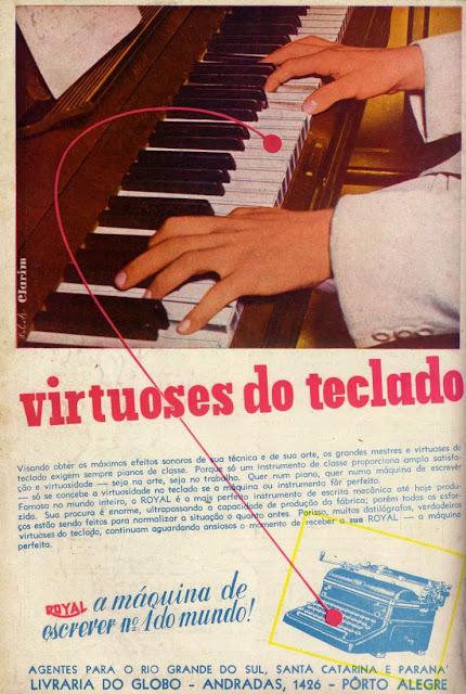 Propaganda da máquina de escrever Royal, apresentada em 1948 em comparação a um refinado piano.