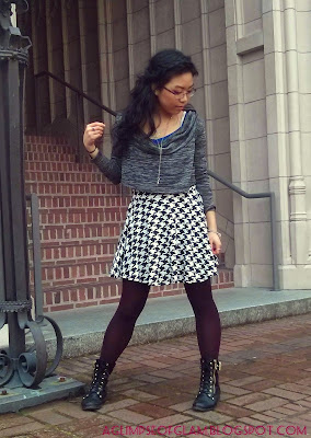 OOTD black and white houndstooth skirt and gray sweater