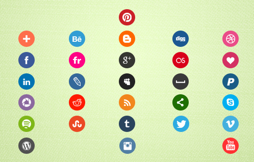 Round Color Social Icons