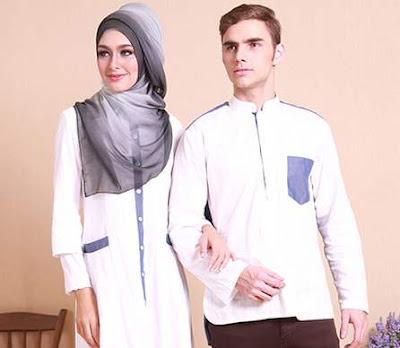 Model Baju Muslim Couple Putih Elegan untuk Lebaran