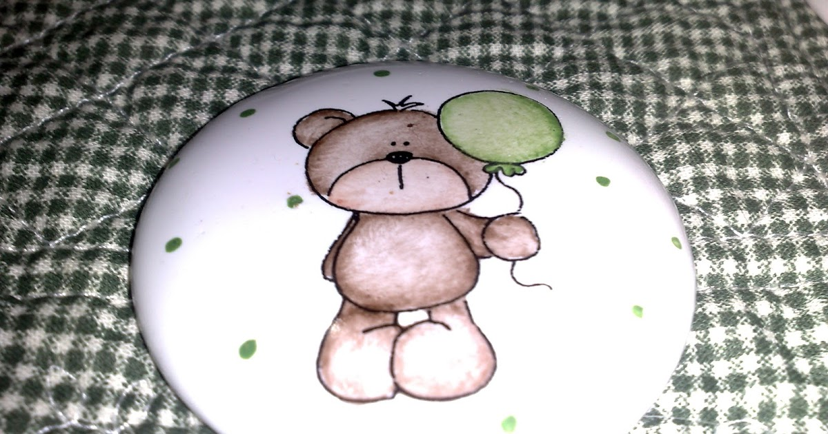 Set De Baño Souvenirs:Patagonia Magica – Porcelana Pintada a Mano: souvenirs osito con globo