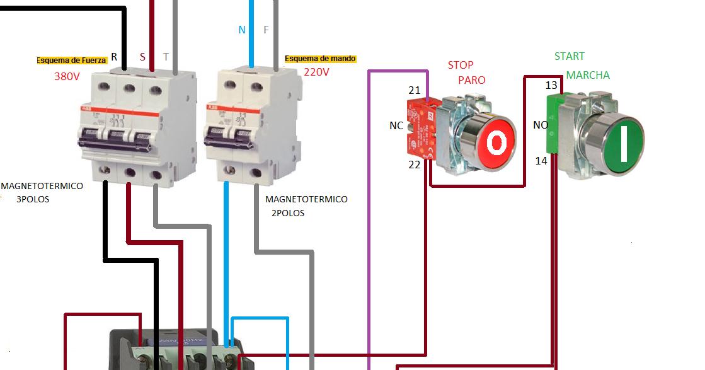 Extractor De Baño Sica:arranque motor trifasico con pulsadores marcha paro ~ Esquemas