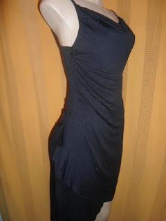 vestido preto frances com brilho em prata de alça  em acetato e elastano