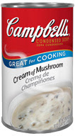 A can of Campbell's cream of mushroom soup with white background