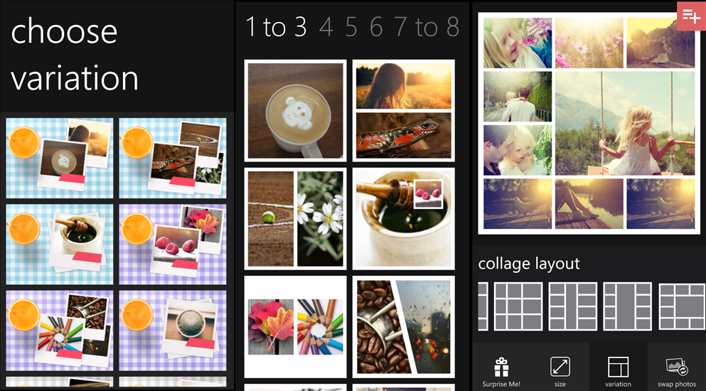 Phototastic for windows phone user interface
