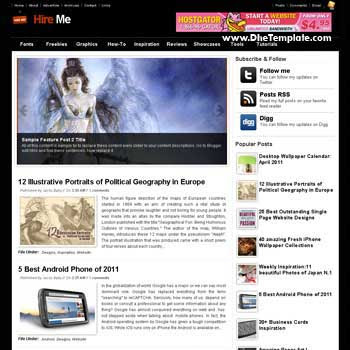 Hire Me blogger template. template 3 column footer for blog. magazine style blogger template. blogger template iwth image slideshow
