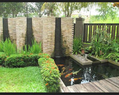 Taman kolam minimalis depan rumah