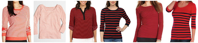 Levi's Striped French Terry Crew Pullover $22.35 (regular $46.00)  J. Crew Factory Striped Boatneck Tee $26.50 (regular $39.50)  Calvin Klein Striped Roll Sleeve Blouse $37.99 (regular $69.00)  Pendleton Striped Sweater $50.02 (regular $99.50) alternate link  Ralph Lauren Striped Shirt $55.00  Tees by Tina Nautical Stripe 3/4 Sleeve $58.00