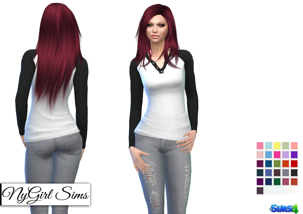 Nygirl Sims 4 Henley Shirt For Her