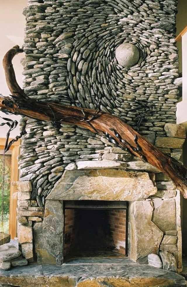 Unusual Stone Walls : Unique mosaics stone adorn interior and exterior walls