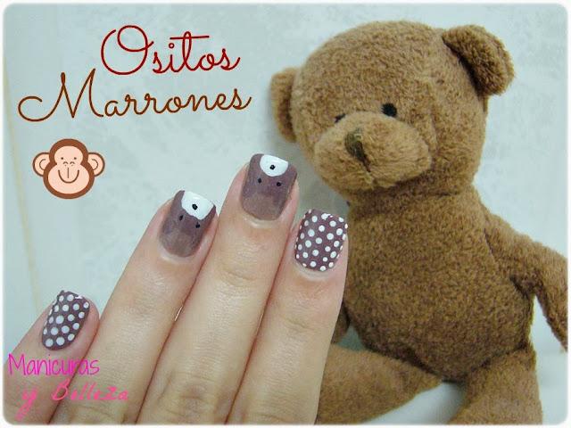 manicura marrón con ositos marrones y puntos blancos uñas nail art brown bear polka dots nails notd masglo intuitiva