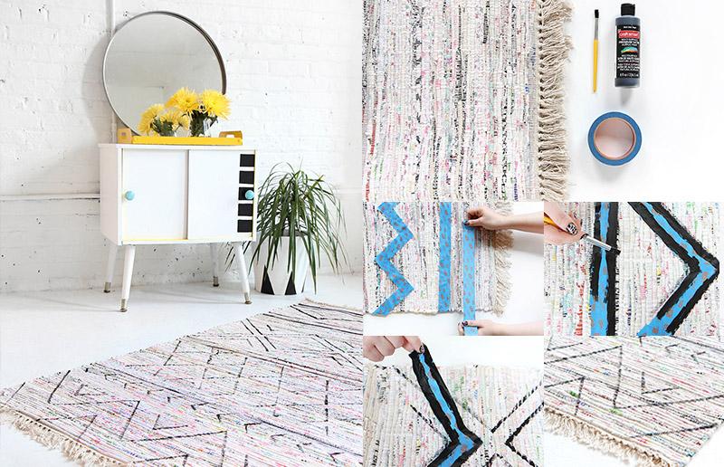 Customização de tapete, tutorial com tinta