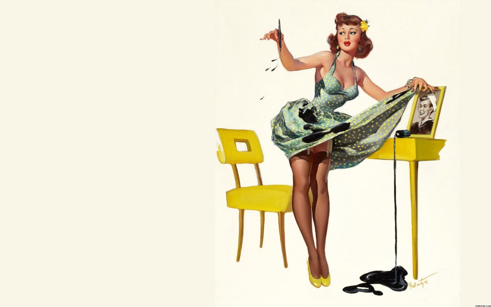 Wallpaper Co... Vintage Pin Up Wallpaper