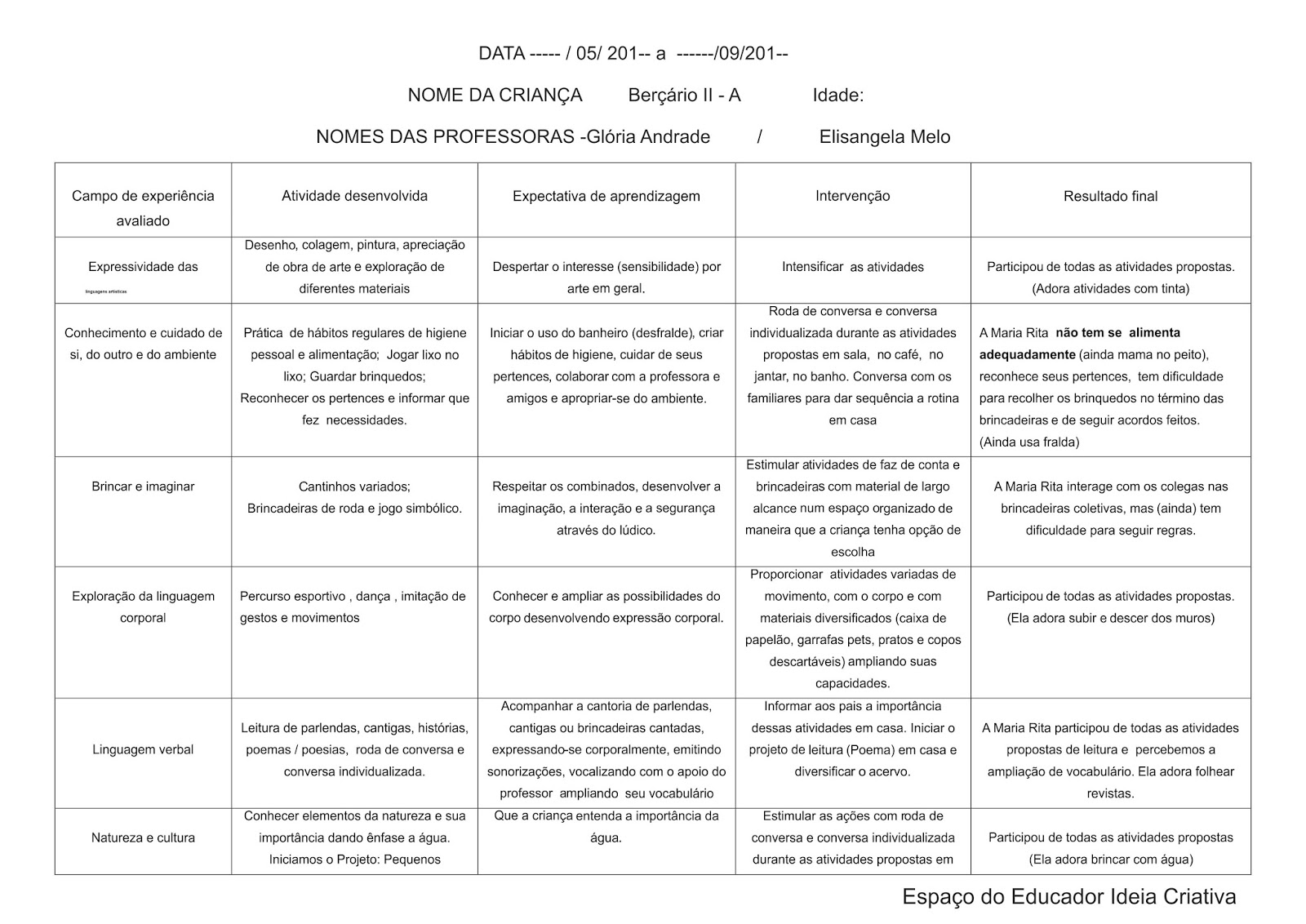 Well-known Modelo de Avaliação Individual de Acompanhamento Berçário | Ideia  BY37