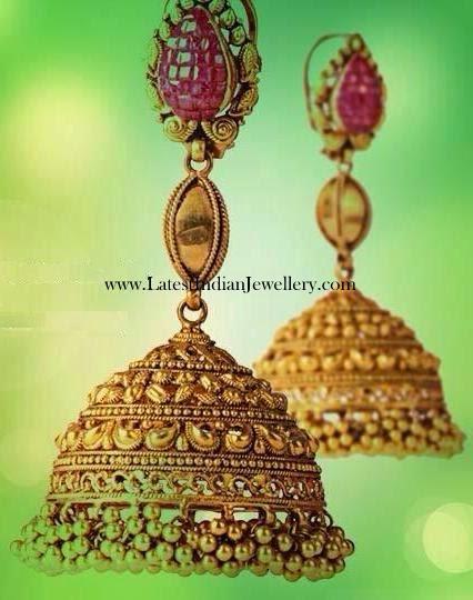 Intricate Designer Gold Jhumkas