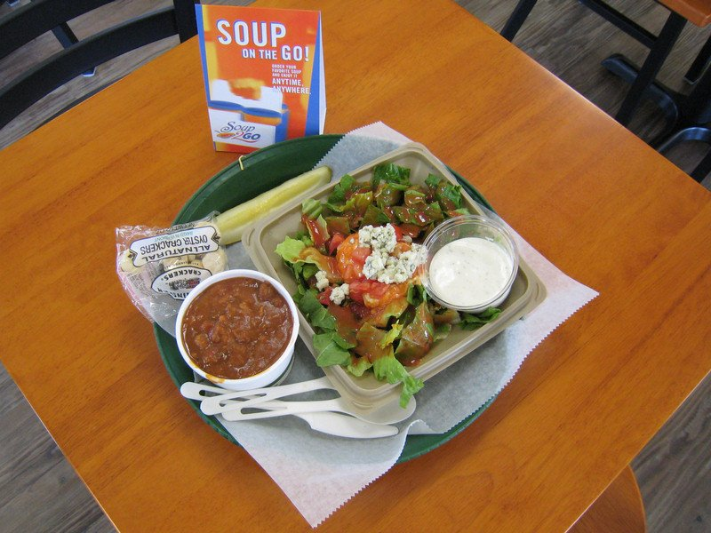 Vegetarian Chili Soup & 1/2 Buffalo Hummus Salad