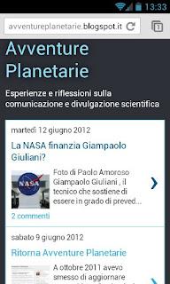 Avventure Planetarie su uno smartphone Android
