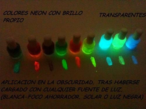 barniz de uñas neón fosforescente luminiscente