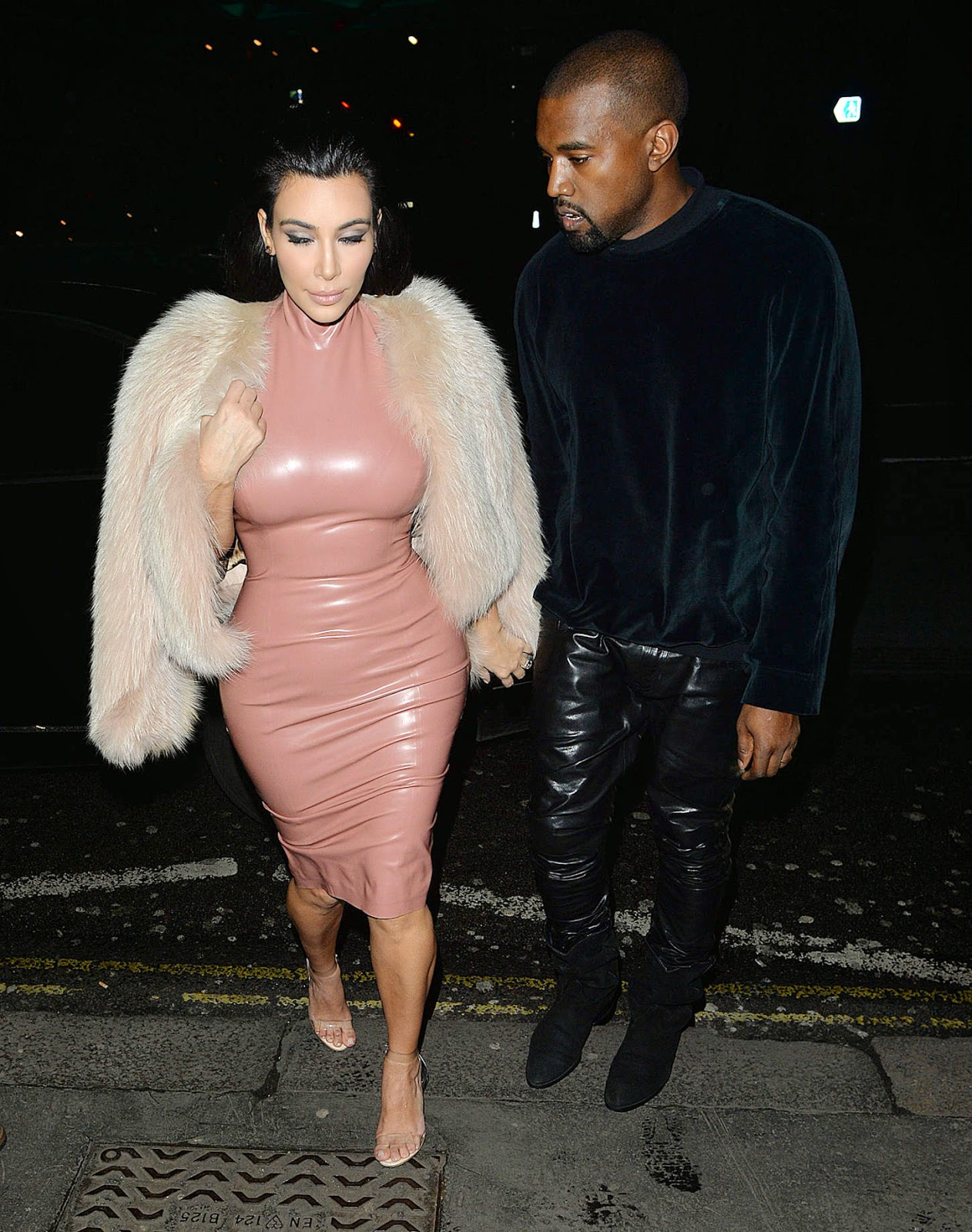 Kim Kardashian in a pink latex dress out and about in London