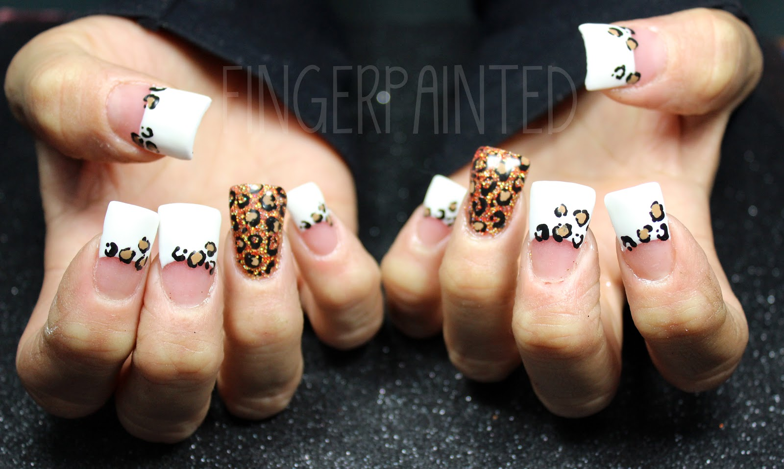 black cheetah print nail