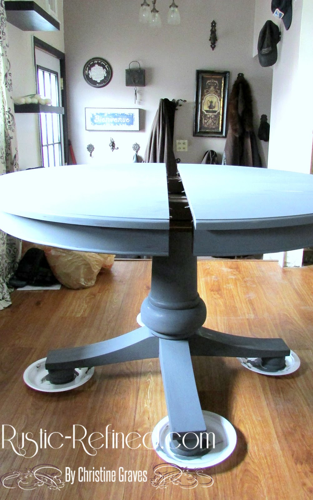 chalk painting kitchen table painting kitchen table Here s the table with 2 coats of dark grey chalk paint from JoAnn Fabrics I even used a cheap sponge brush