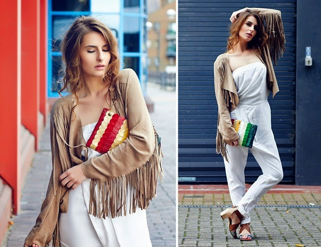 Missguided Ceylia Fringed Jacket Beige