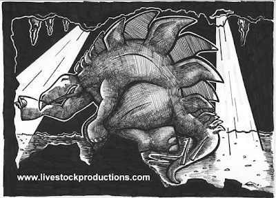 Sleeping Stegosaurus Illustration for Not Quite Extinct by Phil Machi