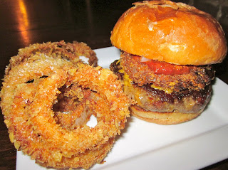 Chili Cheese Bacon Burgers with Potato Chip Crusted Onion Rings and ...