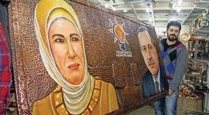 Erdoğan bakır portresi