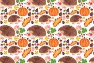 Autumn Hedgehog Pattern by Haidi Shabrina