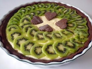 Tarte chocolatée, kiwi et mascarpone au zestes d'orange