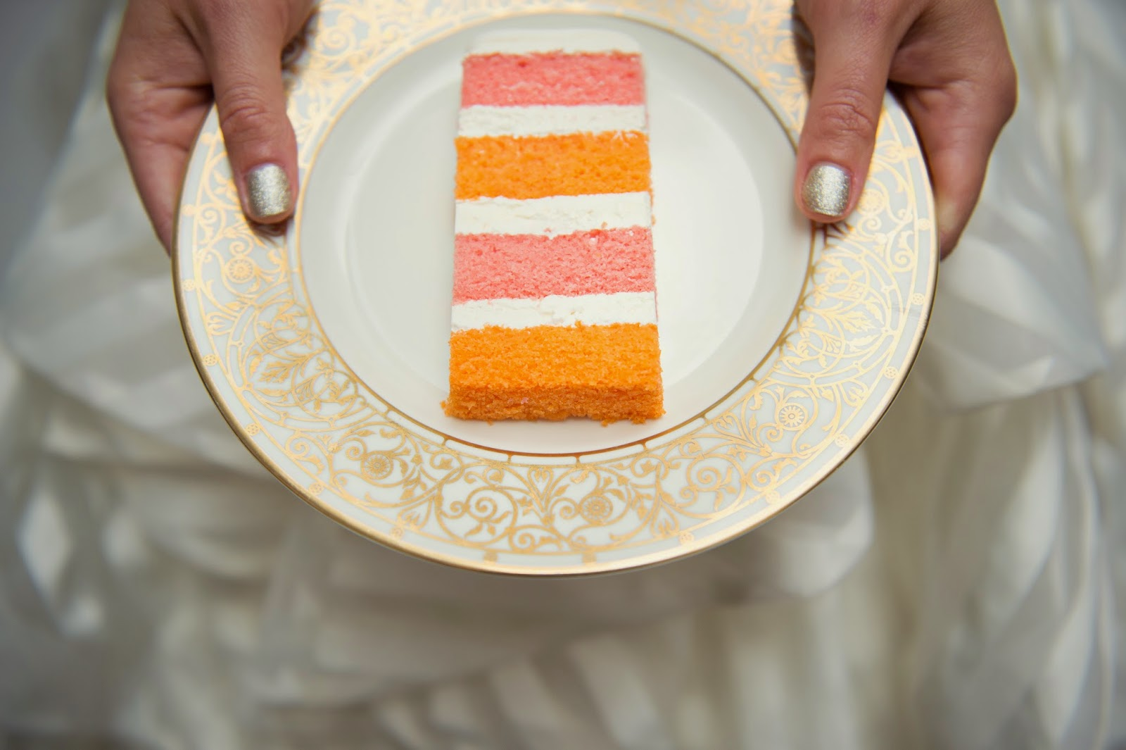 ct pink & orange wedding cake