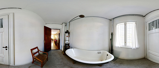 Historic bathroom interior panoramic image