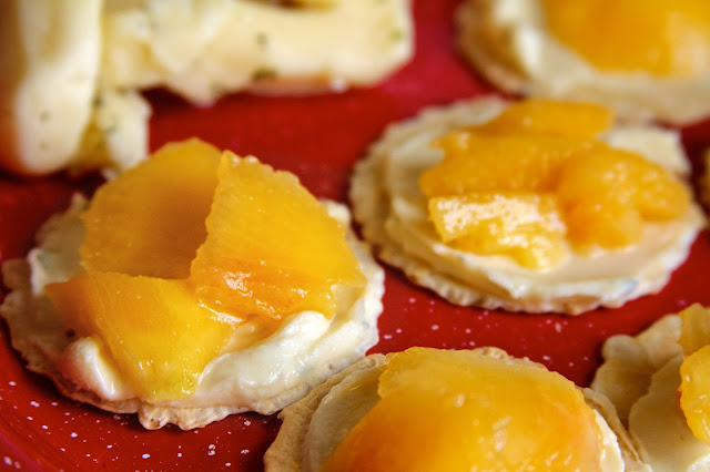 Garlic cheese spread and fresh peaches. Lansing Treats. Tammy Sue Allen Photography.
