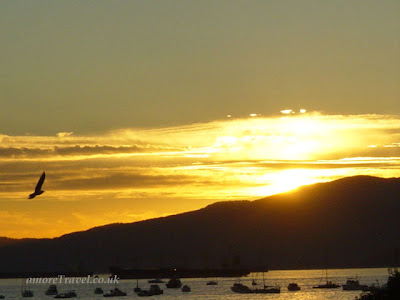 Sunset over English Bay, Vancouver, Fireworks