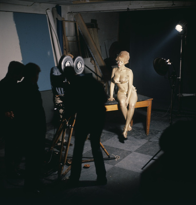 "Behind-the-scenes: JAMES BOND ""GOLDENEYE"" title sequence. photographs by Herbert Spencer document artistic director Robet Brownjohn's preparatory studies.  Golden painted girl, the beautiful Margaret Nolan, on exibit at the MoMA. quintessential 1960's design."