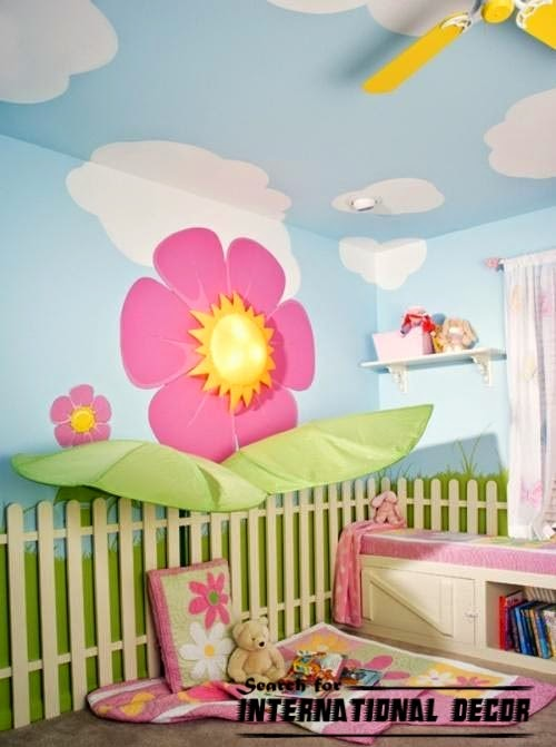 childrens wallpaper,nursery wallpaper, clouds wallpaper theme,