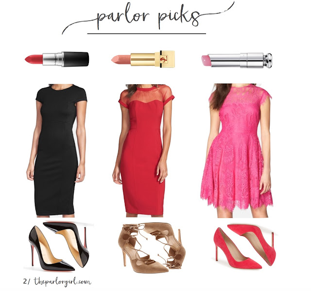 parlor picks valentines day outfit inspiration dresses lipstick and heels