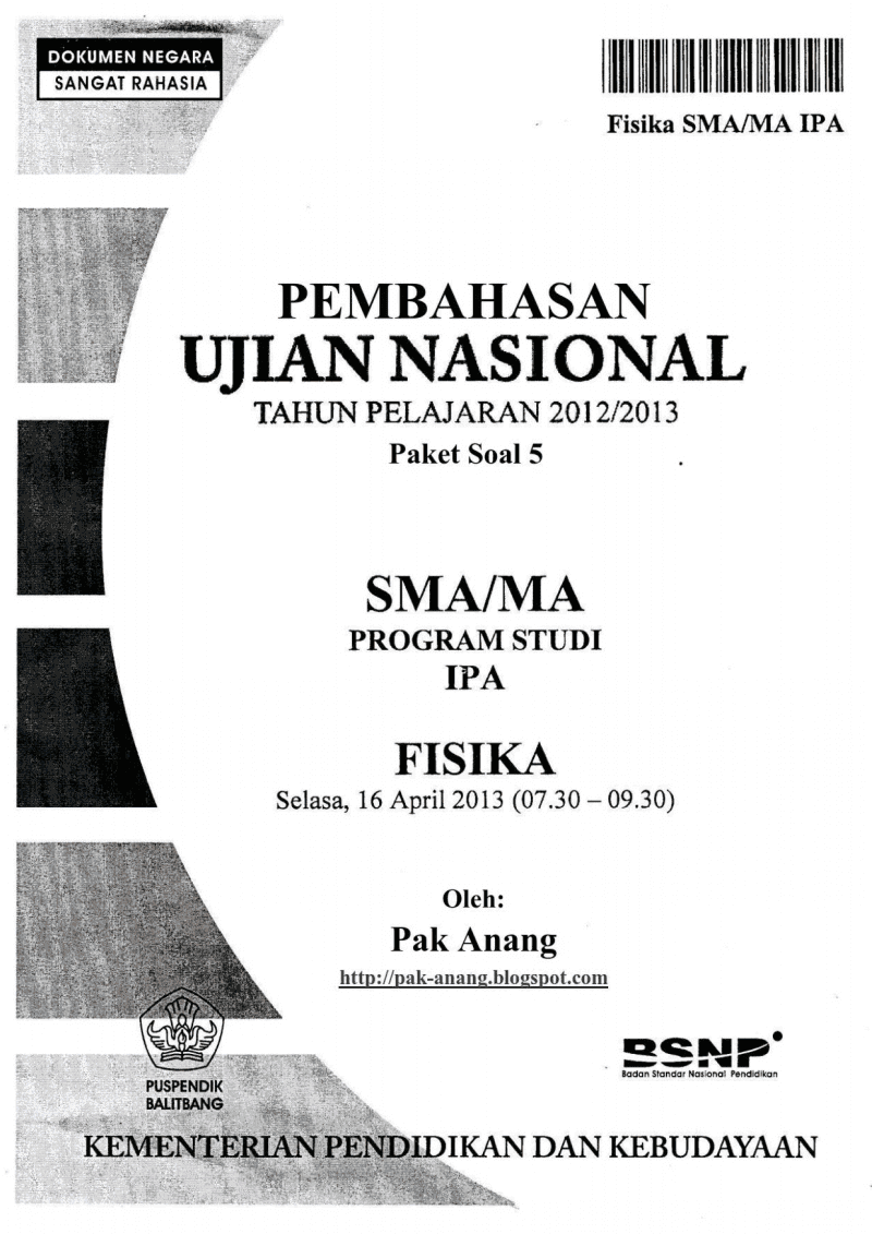 Pembahasan Soal Un Fisika Sma 2013 (Trik Superkilat) (Paket 5)