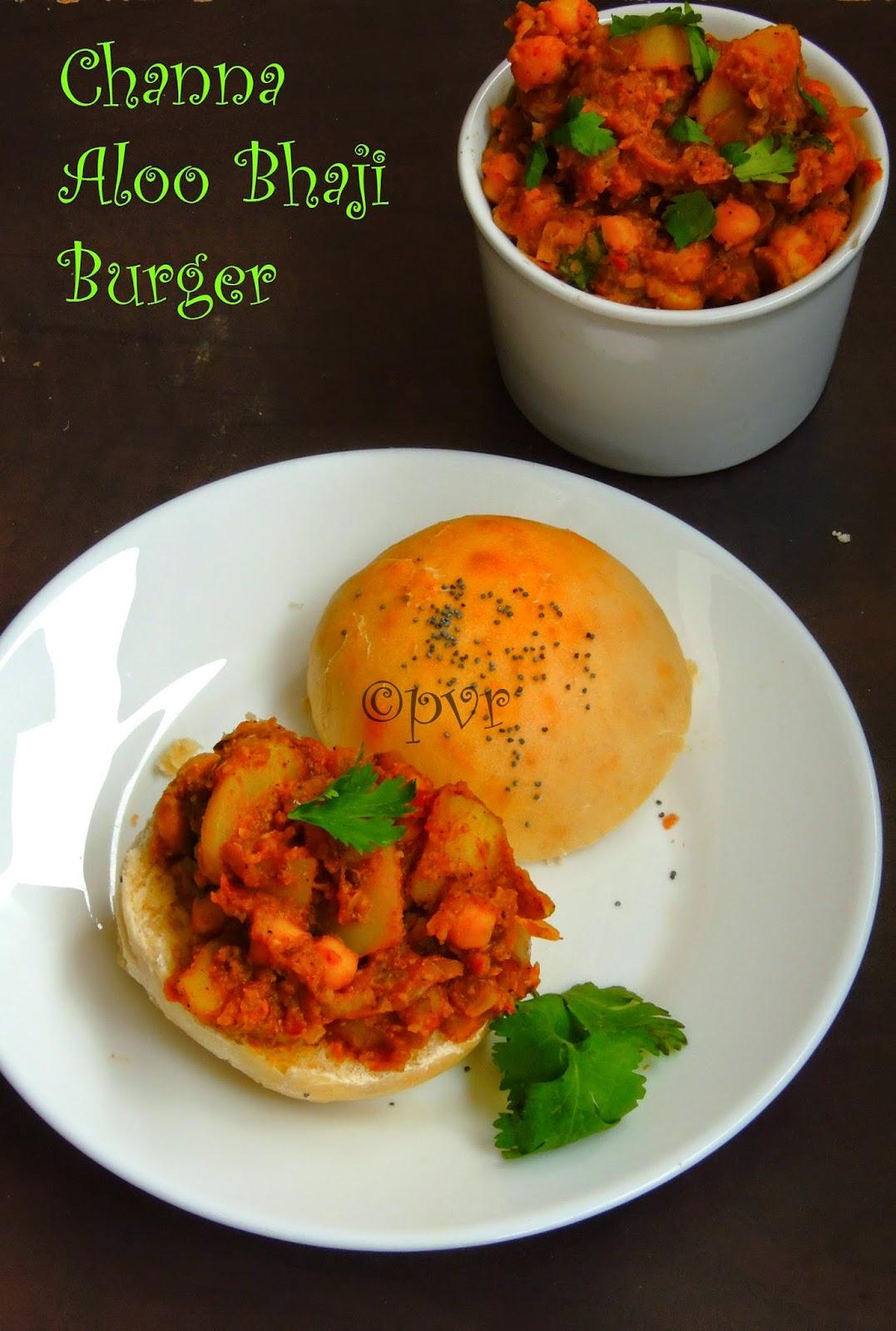 Aloo channa bhaji sandwich, Burger sandwich