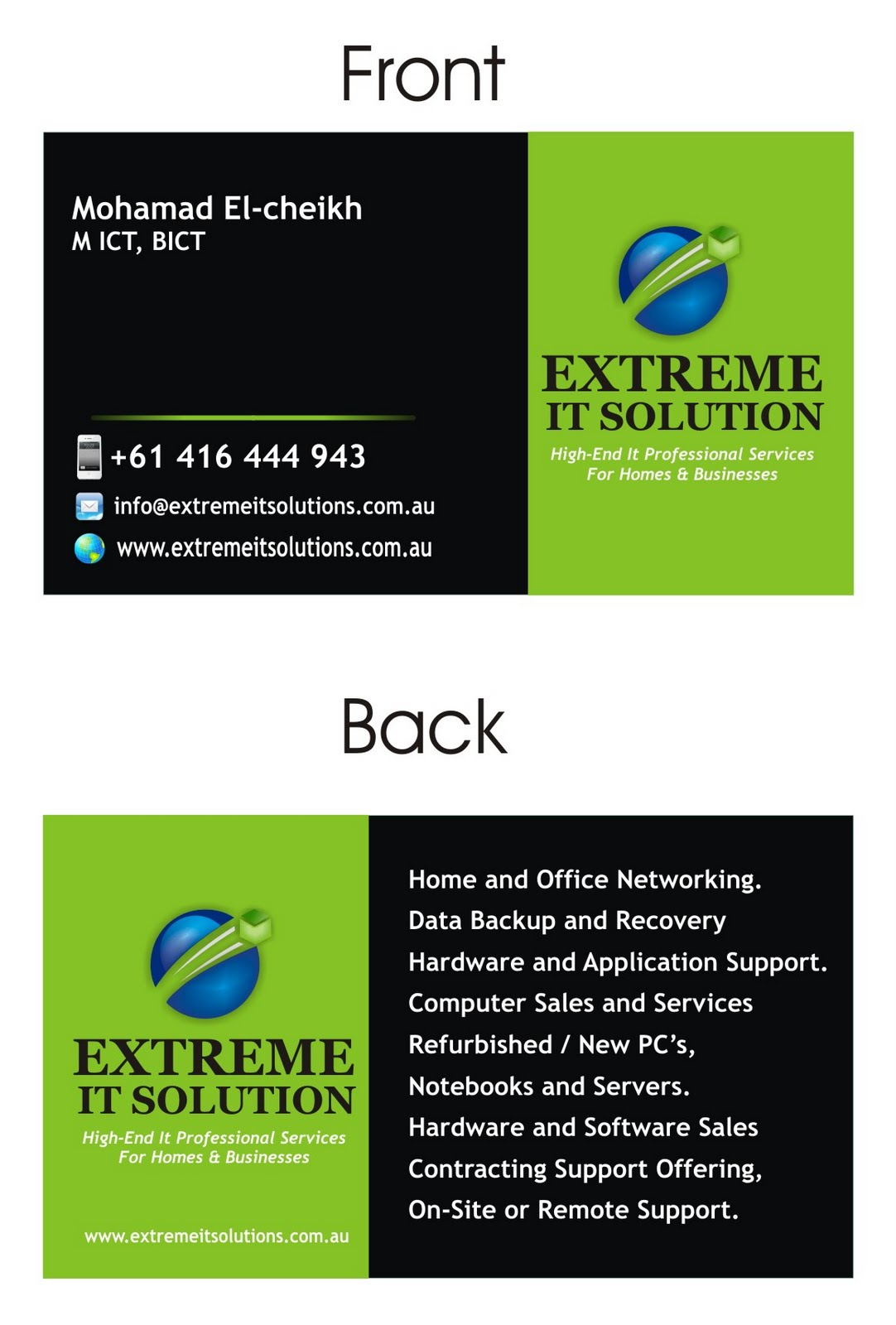 Extreme IT Solutions Business Cards Design
