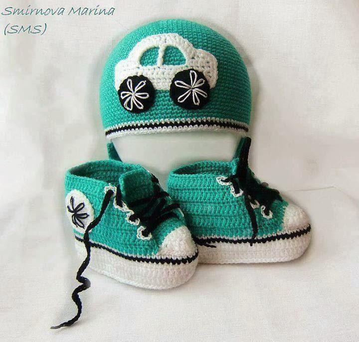 Связать пинетки-кеды для новорожденных